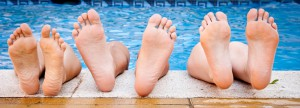 Barefoot at the pool