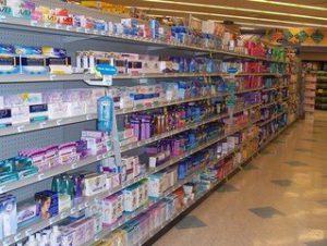 Picture of over the counter products on store shelf for treatment of toenail fungus