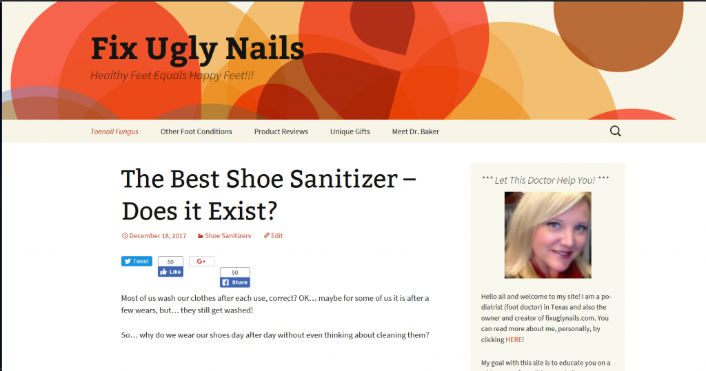 SCREEN SHOT OF FIXUGLYNAILS.COM FOR POST HOW TO BUILD A WEBSITE FOR FREE