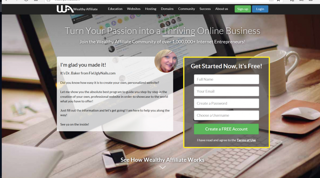 SCREENSHOT OF OPENING PAGE TO WEALTHY AFFILIATE ON POST HOW TO BUILD A WEBSITE FOR FREE